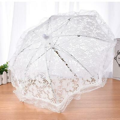 Lace Embroidered Parasol Umbrella Beauty White  Bridal Wedding Party Decoration