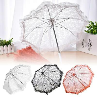 Lace Embroidered Parasol Folding Umbrella Flower Girl Bridal Wedding Party Decor