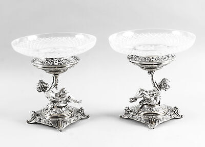 Antique Pair English Victorian Silver Plate & Cut Glass Centrepieces 1883 19th C