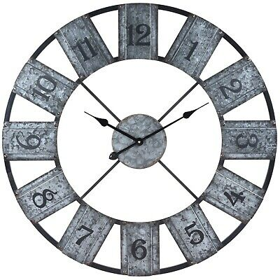 Giant 80cm Metal Rusty Effect Wall Mounted Numeric Clock Home Decor Office Large