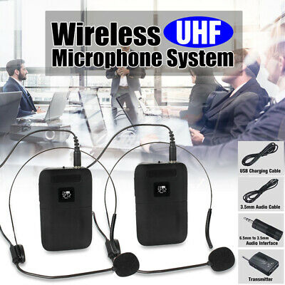 UHF Wireless Microphone System Dual-Channel Head-mounted Receiver 2 Transmitter