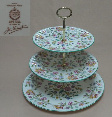 "Extra Large, Display, Minton ""Haddon Hall"" (Green Trim) THREE TIER CAKE STAND"