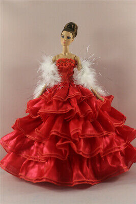 Fashion Handmade Princess Dress Wedding Clothes Gown+shawl for 11.5in.Doll #08