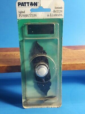 Vintage Patton Lighted Pushbutton Doorbell New Metal Black