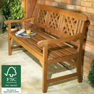 3 Seater Hardwood Bench Classic Wooden Garden Patio Outdoor Furniture Indoor NEW