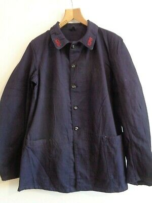 Vtg British GPO post office blue cotton mail worker work chore jacket