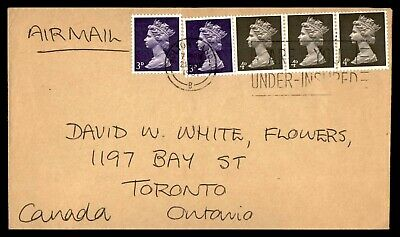 Uk Cover 1967  Bolton Lands November 21St Air Mail Strip Of 3 To Torononto Ont C