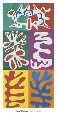 Panel with Mask, 1947 by Henri Matisse Art Print Abstract Poster 20x40