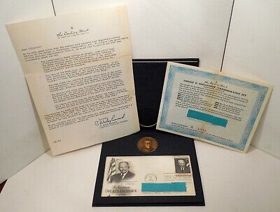 1969 - Dwight D. Eisenhower - Commemorative Set - Bronze Medal - First Day Stamp