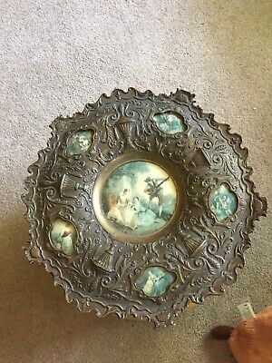 Vintage Brass Ornate Baroque 15 Wall Hanging Plate Charger Spain Porcelain