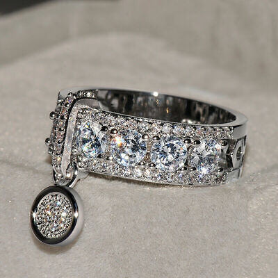 Gorgeous Round 925 Silver White Sapphire Engagement Ring Wedding Jewelry Sz 5-10