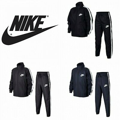 Nike Woven Tracksuit - Zip Top & Bottoms - Black, Navy & Anthracite / Older Boys
