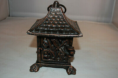 Cast Iron Japanese Pagoda Hanging Footed  Patio Lantern Candle Holder Dragonfly