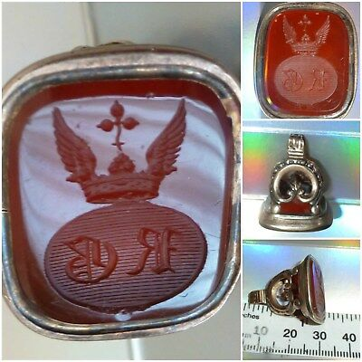 Victorian Intaglio Seal Fob Wings Crown Armorial Crest Agate Carnelian Stone