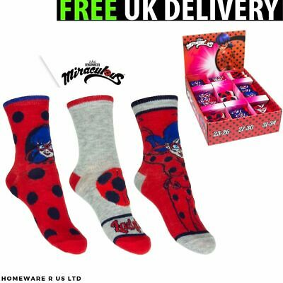 Girls Socks 1 Pairs Pack ( 6-8 9-12 13-3 )  Official Miraculous Ladybug Kids Red