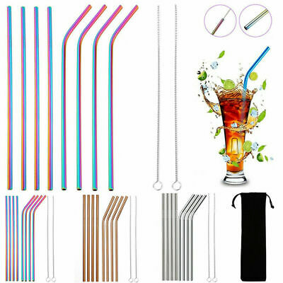 4/10x Stainless Steel Drinking Metal Straw Reusable Bar Straws Cleaner Brush Kit