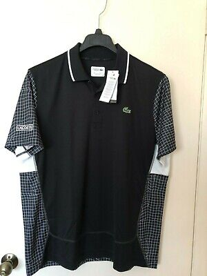 Nwt Men's Lacoste Sport Net Print Tennis Polo Shirt Polyester Black White Graph