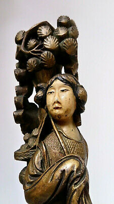 Stunning Antique Carved Wood Figure Of A Japanese Chinese Lady Lamp Stand