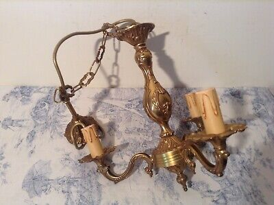 Vintage French 3 Arm Ornate Bronze Chandelier Ceiling Light (3369)