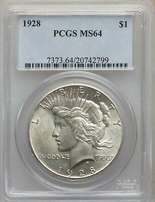 1928 US Peace Silver Dollar $1 - PCGS MS64