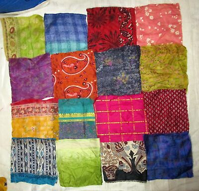 UK LOT PURE SILK Antique Vintage Sari Fabrics REMNANT 16 pcs 8 inch MIXED #ABDIR