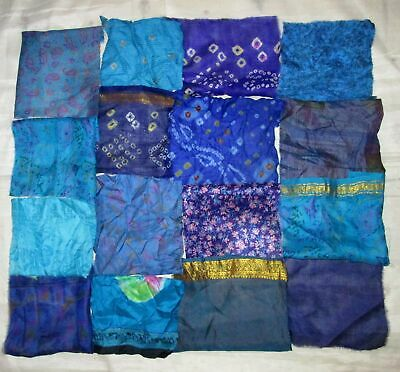 UK LOT PURE SILK Antique Vintage Sari Fabrics REMNANT 16 pcs 8 inch #ABDIX