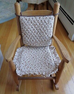 Vintage Child's or Doll Wooden Rocking Chair with Reversible Pads