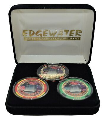 Set of 3 Edgewater $5-$25-$100 Casino Chips #0052 Laughlin NV Millennium Series