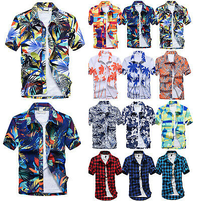 f830c6b8f Mens Hawaiian Short Sleeve T Shirts Aloha Beach Summer Party Casual Dress  Shirt