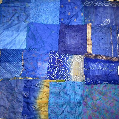 UK LOT PURE SILK Antique Vintage Sari Fabrics REMNANT 16 pcs 8 inch #ABDJ5