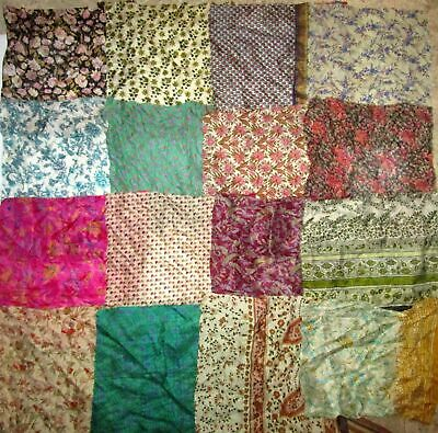 UK LOT PURE SILK Antique Vintage Sari Fabrics REMNANT 16 pcs 8 inch #ABDJ7