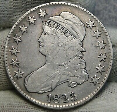 1825 Capped Bust Half Dollar 50 Cents - Nice Coin Free Shipping (8345)