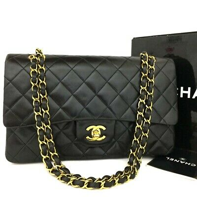 b5c8c1b7aee0a CHANEL Double Flap 25 Quilted CC Logo Lambskin w Chain Shoulder Bag  Black p878