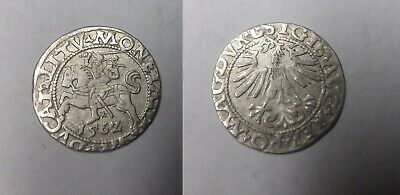 1562 Lithuania- Silver 1/2 Grosz- Armored Knight - 450 years old Nice #2