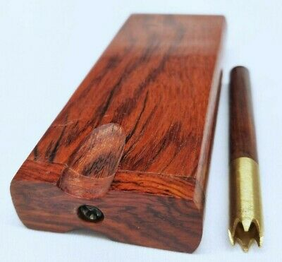 Rosewood Brass Grinder Tip Dugout One Hitter Stash Box for Dry Herb