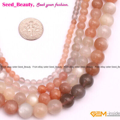 "Natural Round Gemstone Mixed Color  Moonstone Beads For Jewelry Making 15"" DIY"