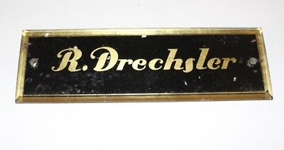 Original Antique Sign Klavierbauer Piano ~ 1880 R. Drechsler Glass Gold