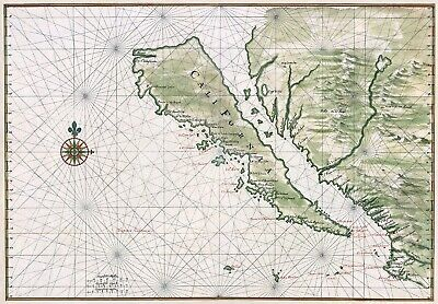 Johannes Vingboons: Map of California Shown as an Island. Fine Art Print/Poster
