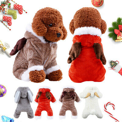 Lovely Costumes Puppy Dog Pet Winter Fleece Hoodie Clothes Jumpsuit Jacket Coat