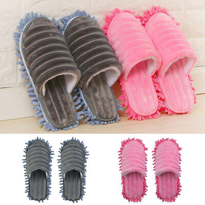 A Pair Mop Slippers Lazy Floor Foot Socks Shoes Polisher Cleaning Dust Grey Pink