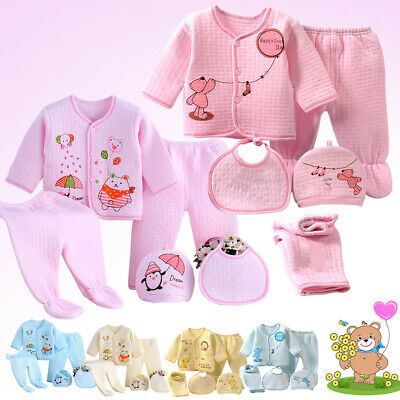 Cute Pattern Winter Baby Boy Girl Newborn Animal 5Pcs Set Outfit Infant Clothing