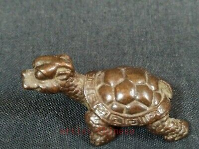 Collection Old China Copper Carving Dragon Turtle Statue Pendant Paperweight
