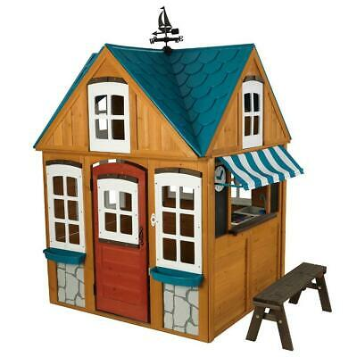 Seaside Cottage Outdoor Playhouse Easy Set Up 100 Wood Material