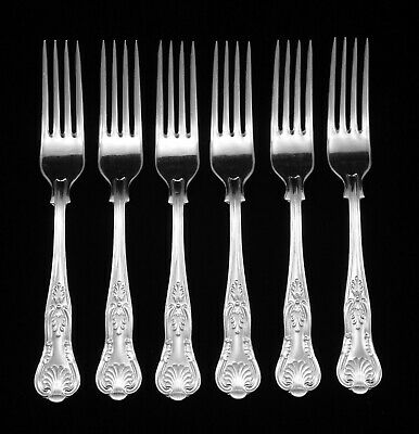 """6 Heavy Vintage Webber And Hill Silver Plated Kings Pattern 7.25"""" Dessert Forks"""