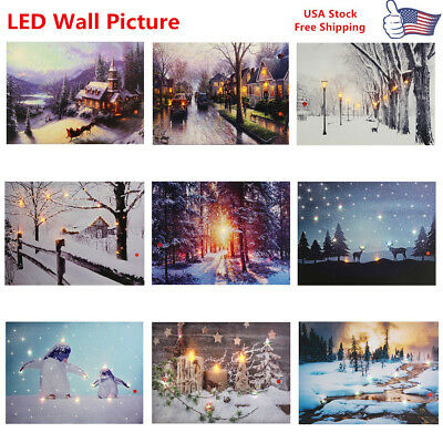 Wall Mount Home Decor LED Light Up Sunshine Snow Street Canvas Pictures Print US