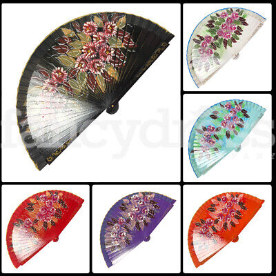 Floral Double Sided Wood Wooden Hand Held Folding Fan Spanish Flamenco Abanico