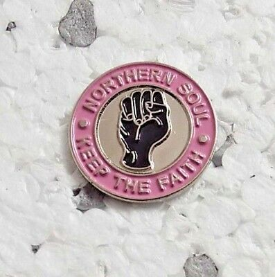 Pink Northern Soul Keep the Faith Pin Badge Scooter Mods & Rockers Vespa