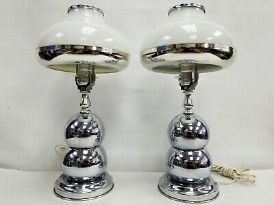 Vintage Pair Set MCM Mid Century Majestic Chrome Ball Orbite Table Lamp 1960's