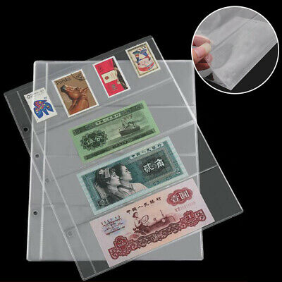 10pcs Note Banknotes Currency 4 Pocket Holders Pages Album Paper Money Sleeves