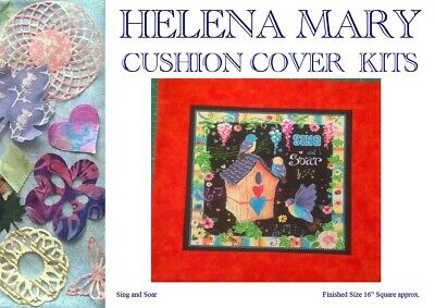 "Patchwork Quilting Kit Complete Cushion Cover Kit - Sing and Soar - 16"" Sq"